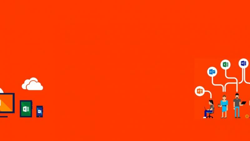 office 365 para empresas fundo em laranja com icons microsoft